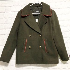 NEW! EXPRESS Olive Green Peacoat
